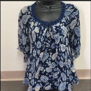 Cynthia Steffe blue silk paisley top blouse size 2